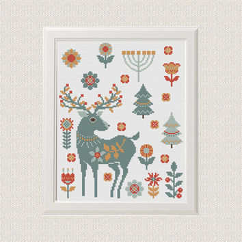 scandinavian Deer cross stitch pattern modern animal cross stitch pattern Funny embroidery Deer pattern