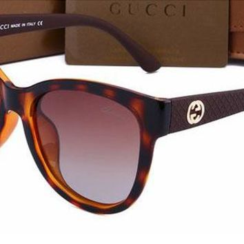 Gucci Fashion Women Casual Sun Shades Eyeglasses Glasses Sunglasses brown G