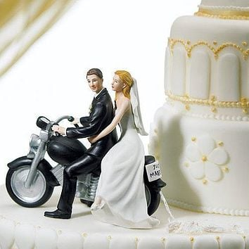 "Motorcycle ""Get-away"" Wedding Couple Figurine Dark Skin Tone (Pack of 1)"