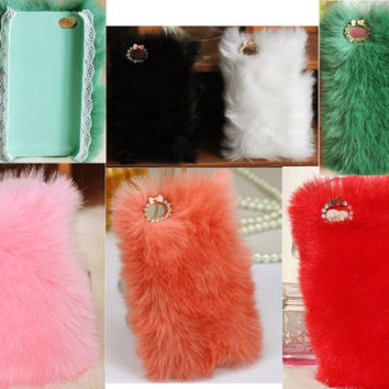 Pretty Colorful Fluffy Style Iphone Fur Case for 4 4S 5 Free Shipping