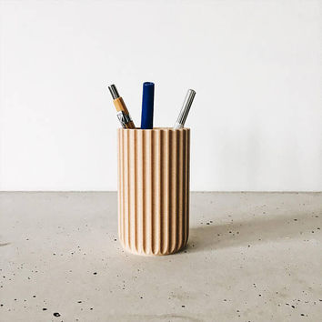 Pen holder / Vase / Desk organizer Stockholm printed in WOOD, hygge, minimalist scandinavian design for our desk ! Original gift her or him