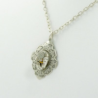 Neo Victorian SteamPunk Ornate Filigree Necklace with vintage Watch Movement by VictorianFolly