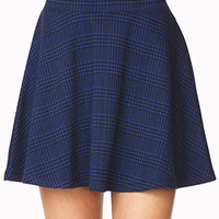 FOREVER 21 Refined Plaid Skater Skirt Cream/Black X-Small