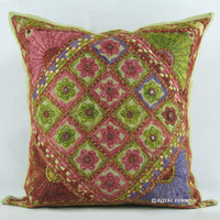 "16"" Indian Vintage Mirror Embroidered Throw Cushion Cover Decor Art"