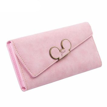LMFON Candy Color Suede Disney Wallet