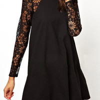 Black Lace Sleeve Shift Dress