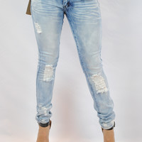 (ane) Light stone wash distressed on knee jeans