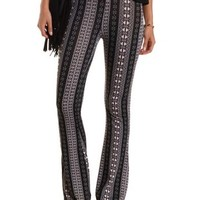 Black Multi Tribal Print Knit Flare Pants by Charlotte Russe