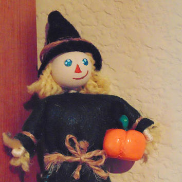 Scarecrow Miniature Art Doll, Harvest Miniature Character, Autumn Mini Doll, Garden Scarecrow