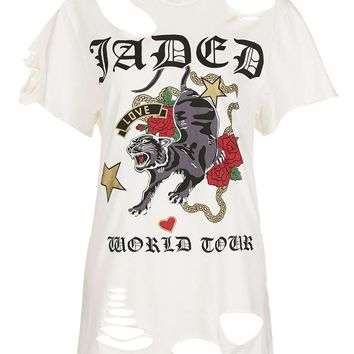 **Oversized Ripped Rock Tee by Jaded London | Topshop