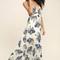 Perfect Memory White Floral Print Maxi Dress