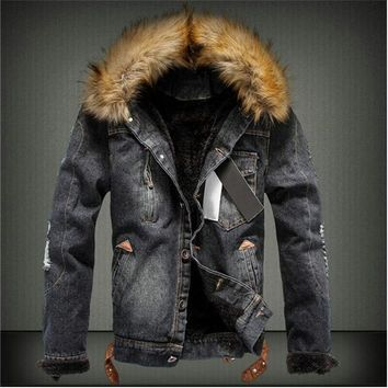 Trendy NaranjaSabor Autumn Winter Men's Denim Coats Men's Jacket Warm Thick Jeans Male Slim Casual Jackets Windbreaker Outerwear XXXL AT_94_13