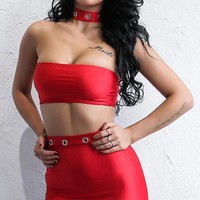 Elvira Two Piece Satin Outfit Set