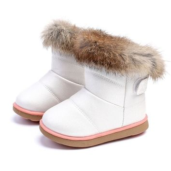 Cute Faux Fur Girl Snow Boots
