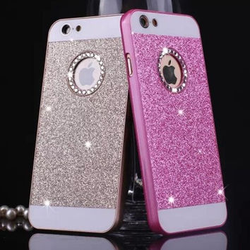 luxury Rhinestone case for apple iphone 5s glitter pink PC cover mobile phone accessories by noble quality original i5