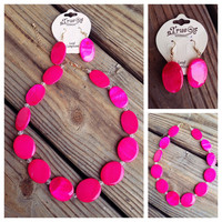"""18"""" Fuchsia Shell Bead Necklace and Earring Set"""