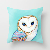 Tribal Pattern Barn Owl Throw Pillow by Annya Kai