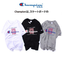 Champion New Fashion Bust Letter USA Print Summer T-Shirt Men and Women Short Sleeve Loose Couples Top Three Color