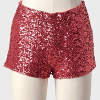 festivity sequined shorts in cranberry at ShopRuche.com