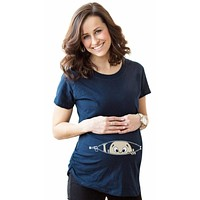 Maternity T-Shirts Pregnant Women Cotton Baby Printed Short Sleeve Loose Elastic Top Tees Casual Pregnancy Clothes