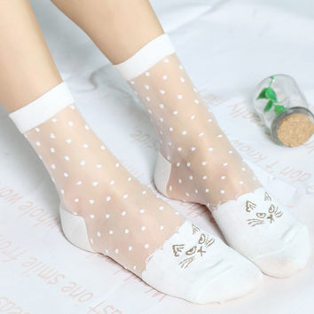 2 Pairs/Lot Woman Novelty Cute Meow Kitty Silk Transparent Cool Ankle Socks Female Dots Hosiery Japanese Ultra-thin Crystal Bas