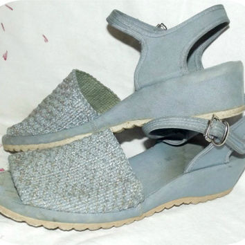 Vintage 50s 60s Light BLUE Canvas Wedge Sandals VLV 6 Swing Shoes Espadrilles Pin-Up Rockabilly