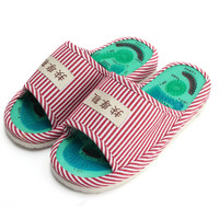 Women Summer Foot Acupoint Massage Cotton Shoes Lady Foot Health Care Magnet Slippers Striped Pattern Indoor Shoes For Women's