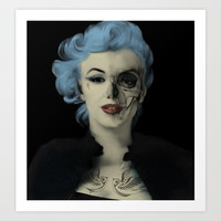 Screwed and Tattooed, Rockabilly Marilyn.  Art Print by Kristy Patterson Design