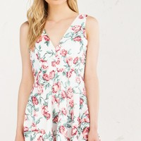 Sleeveless Floral Dress in Black and White