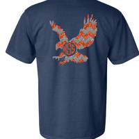 Comfort Colors Auburn Glitter Eagle Shirt - Navy