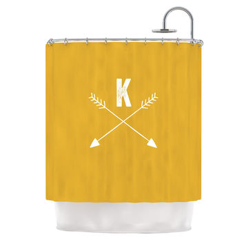 "KESS Original ""Golden Arrow Monogram"" Shower Curtain"