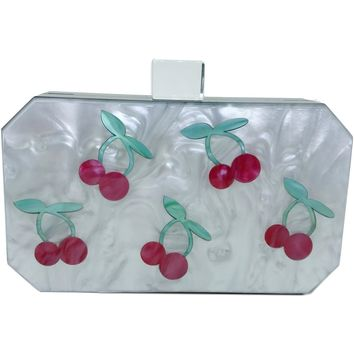 Cherry Luctie Acrylic Box Clutch