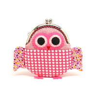 Cute hearty red owl clutch purse by misala on Etsy