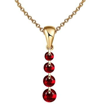 Gold Color Crystal Beads Pendants Necklace For Women