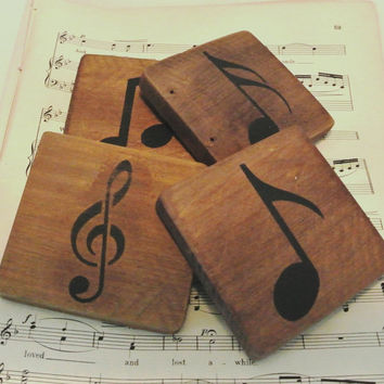 Music Notes - Wood Coaster w/ musical notes stenciled on recycled pallet wood stained and sealed - set of 4