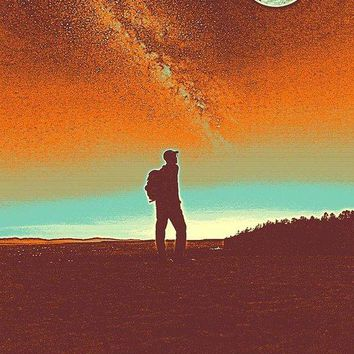 The Milky Way, The Blood Moon And The Explorer Poster By Adam Asar 4 - Art Print