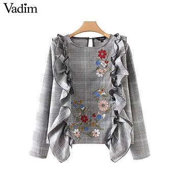 Vadim sweet ruffles floral embroidery plaid shirts Houndstooth long sleeve blouse vintage ladies casual chic tops blusas LT2414