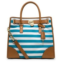 MICHAEL Michael Kors Large Hamilton North South Canvas Tote Stripe Blue & White