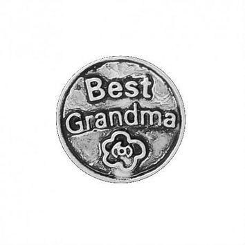Floating Best Grandma Charm Compatible With Origami Owl Lockets