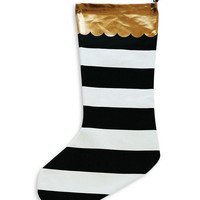 Santa Baby Black and White Stripe Stocking