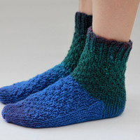 Green Blue Home Socks by HappyLaika on Etsy
