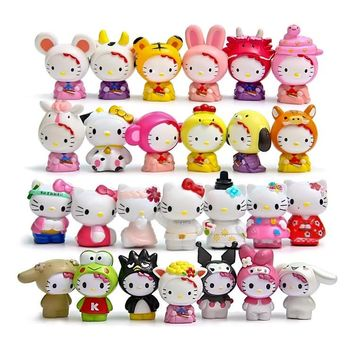26pcs/lot Hot Sale hello kitty Action Figures Toys Dolls classics for collections Cute Desk Toy Christmas Toys for Children Doll