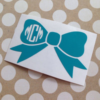 Monogrammed Bow Decal | Monogrammed Bow | Personalized Bow | Car Decal | Preppy | Prepster | Car Decal | Personalized | Monogrammed Decal