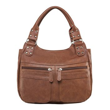 Hobo Bag Features 2 Center Compartments with Zipper Eclosures - Brown