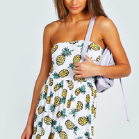 Laura Pineapple Print Bandeau Skater Dress