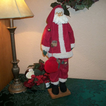 Vintage Hand Crafted Tall Skinny Santa Claus Statuette Wood Dowel Rod Red White Fabric Unique Rustic Christmas Holiday Home Decor