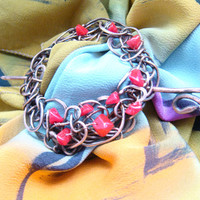 Shawl Pin, Scarf Pin, Copper brooch, corals Brooch Pin, Wire Wrapped Artisan Jewelry. FREE SHIPPING !