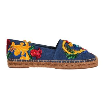 Dolce & Gabbana Blue Brocade Crystal Espadrilles Shoes