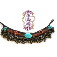 BRAIDED JINGLE JANGLE WITH STONES ANKLET: Gypsy Rose