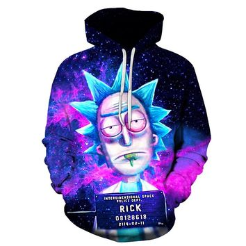 2018 New Custom 3D Sweatshirts Hip Hop Men/Women Hat Funny Print Rick Morty Crazy Scientist Winter Loose Thin Hooded Hoody Tops